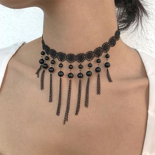 Lace Stitching Black Imitation Crystal Necklace