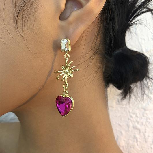 Heart Spider Design Rhinestone Earring Set