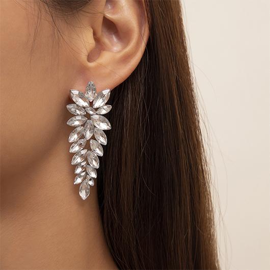 Silver Rhinestone Metal Detail Earring Set