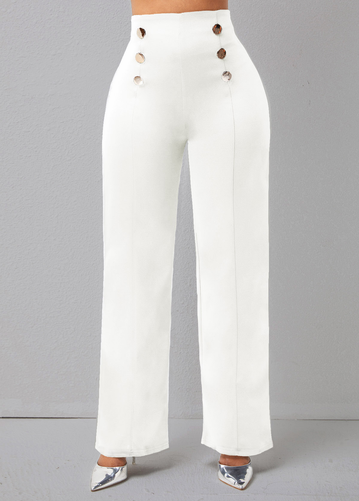 Solid Double Breasted High Waisted Pants