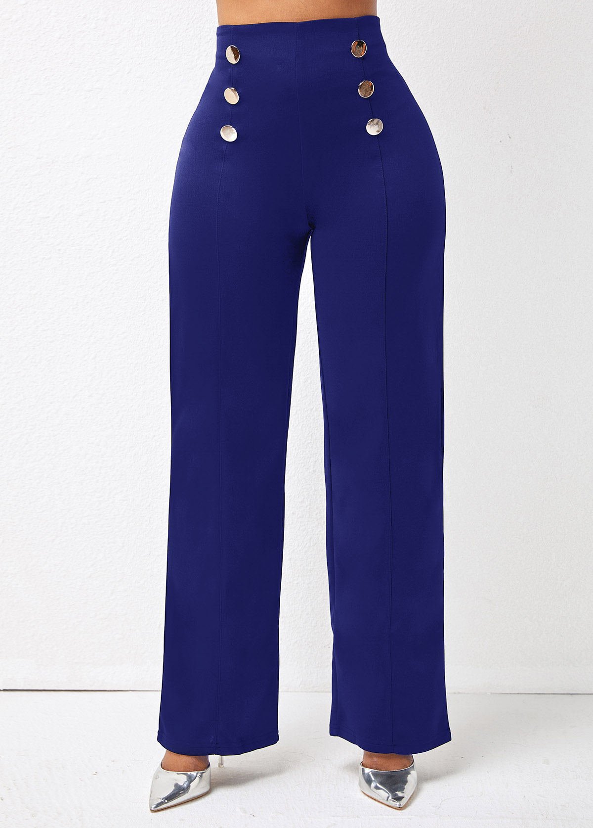 Double Breasted High Waisted Solid Pants
