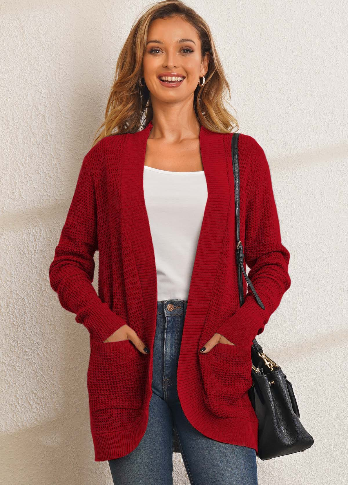 Open Front Solid Long Sleeve Pocket Cardigan