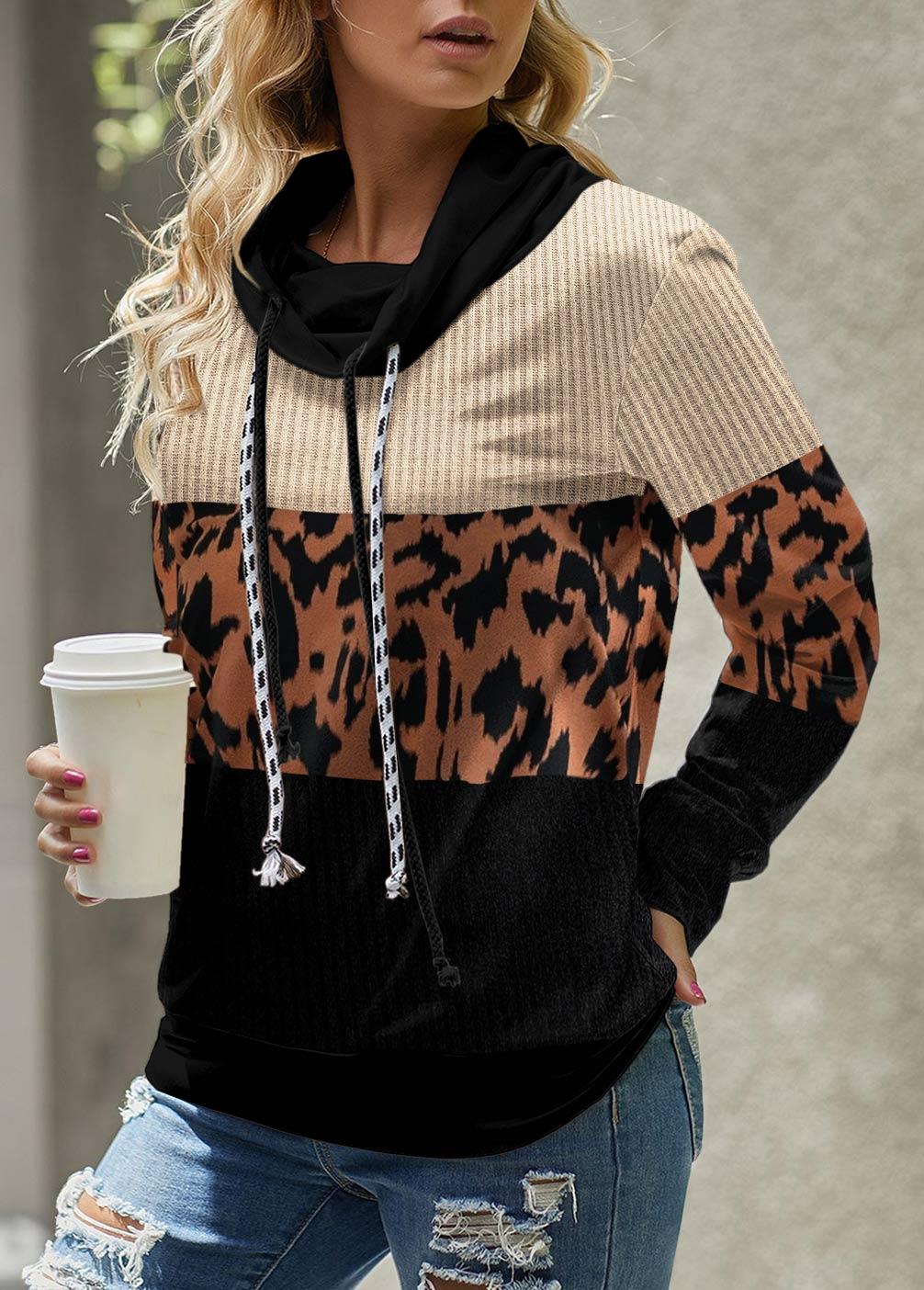 ROTITA Leopard Cowl Neck Long Sleeve Sweatshirt