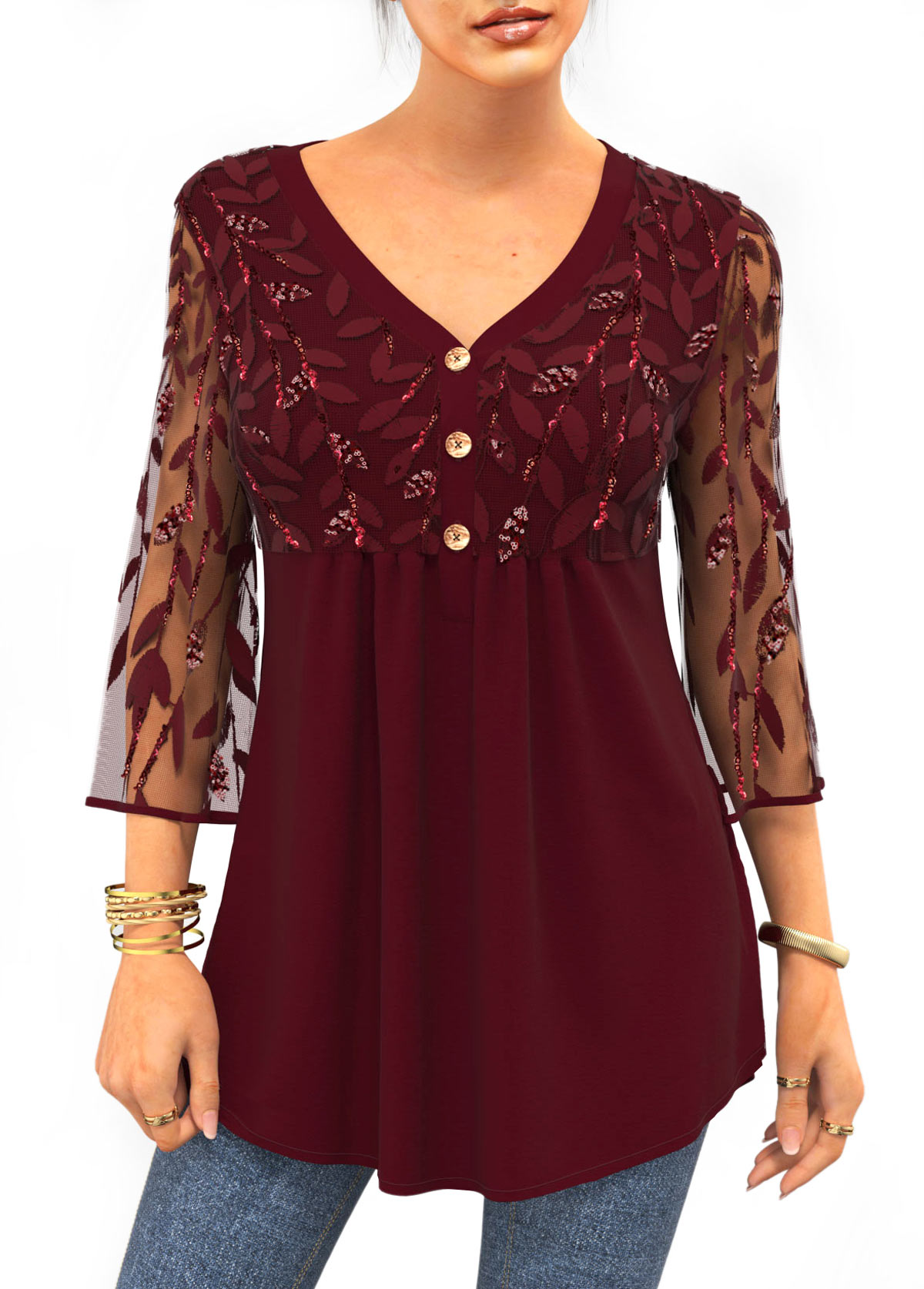 ROTITA Sequin Lace Stitching 3/4 Sleeve Solid T Shirt
