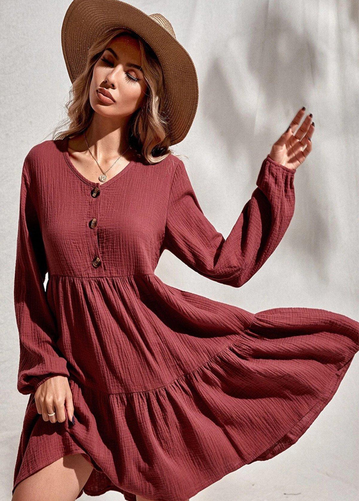 Single Breasted V Neck Long Sleeve Dress