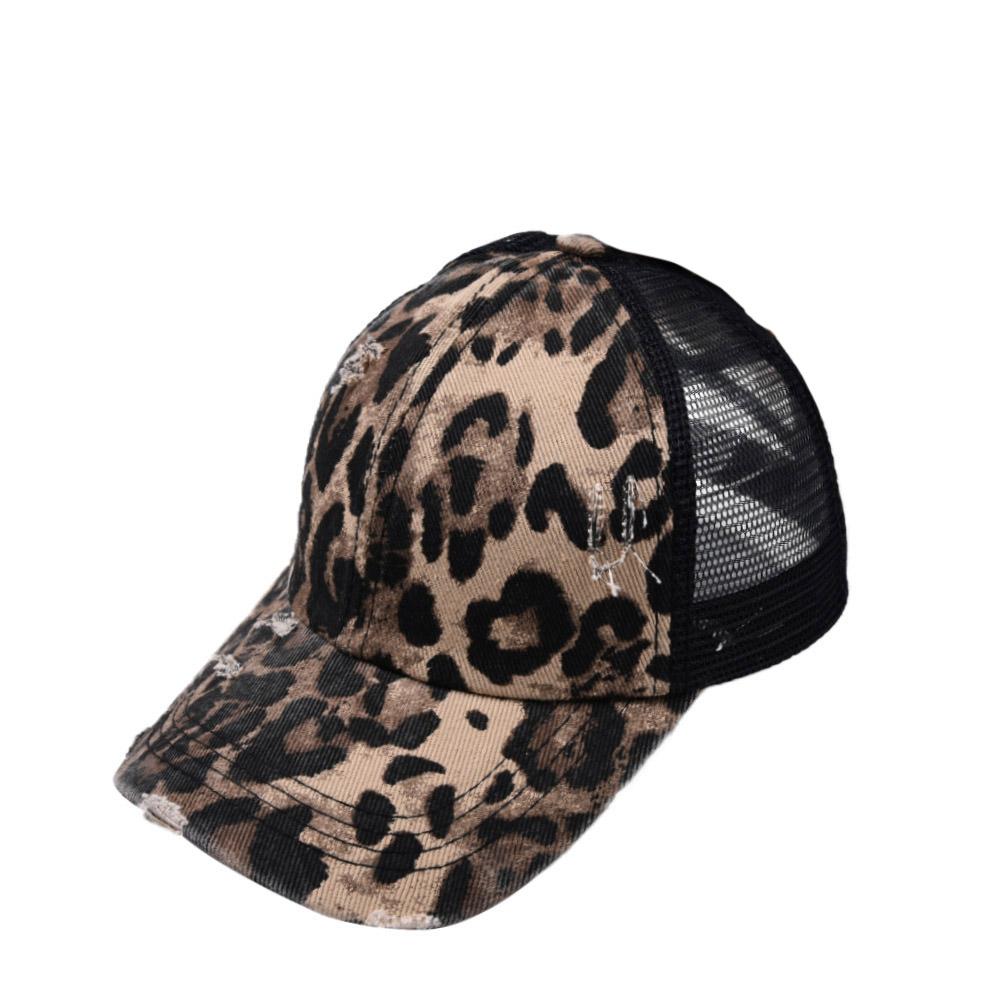 Fishnet Panel Leopard Cutout Back Hat