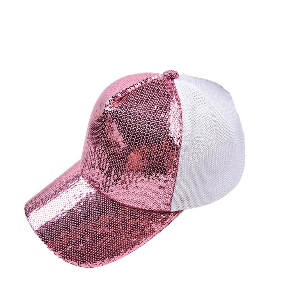 Color Block Sequin Detail Cutout Back Hat