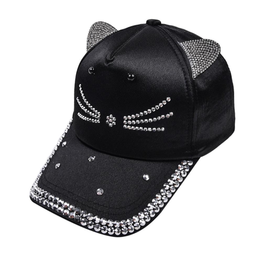 Cat Design Solid Hot Drilling Hat