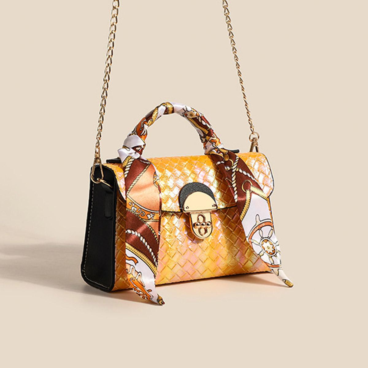 Ribbon Detail PU Gold Chain CrossBody Messenger Bag