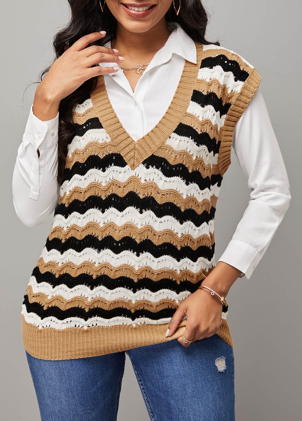 Chevron Print V Neck Short Sleeve Vest