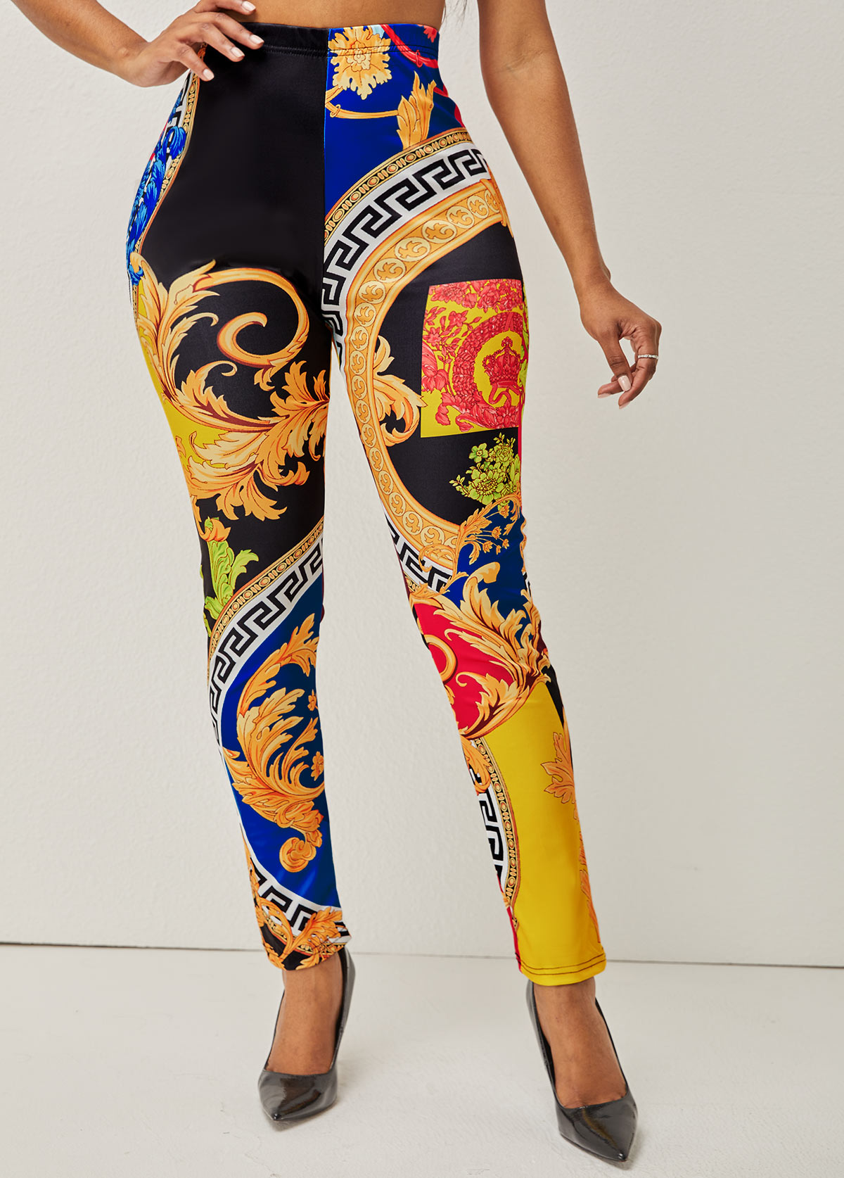 High Waisted Printed Elastic Detail Pants