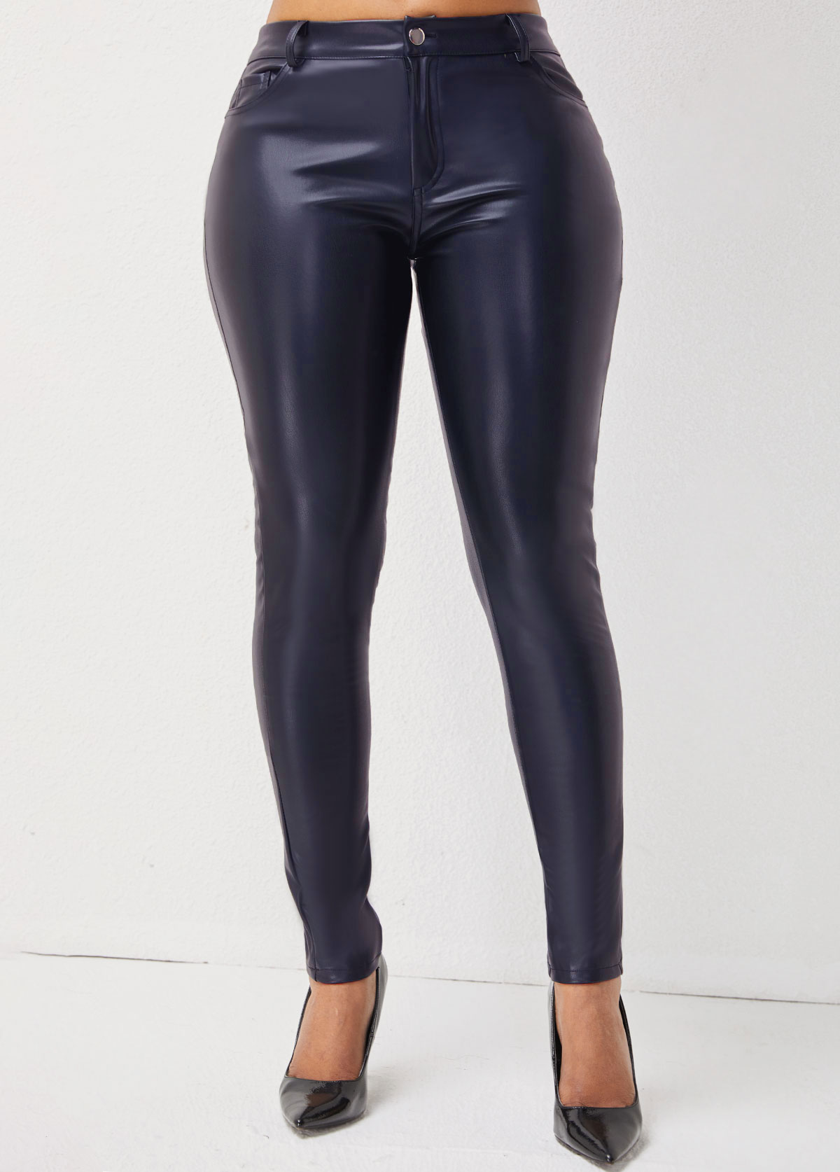 Solid Skinny Button Detail Leather Pants
