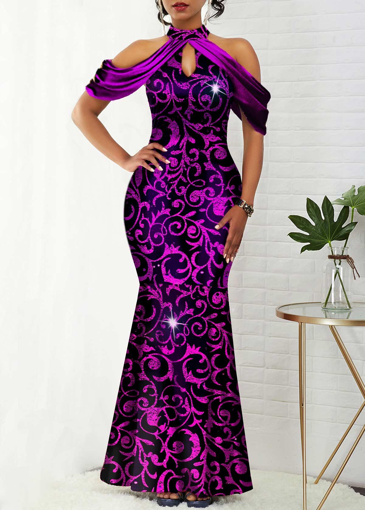 ROTITA Cold Shoulder Bib Neck Shining Mermaid Dress