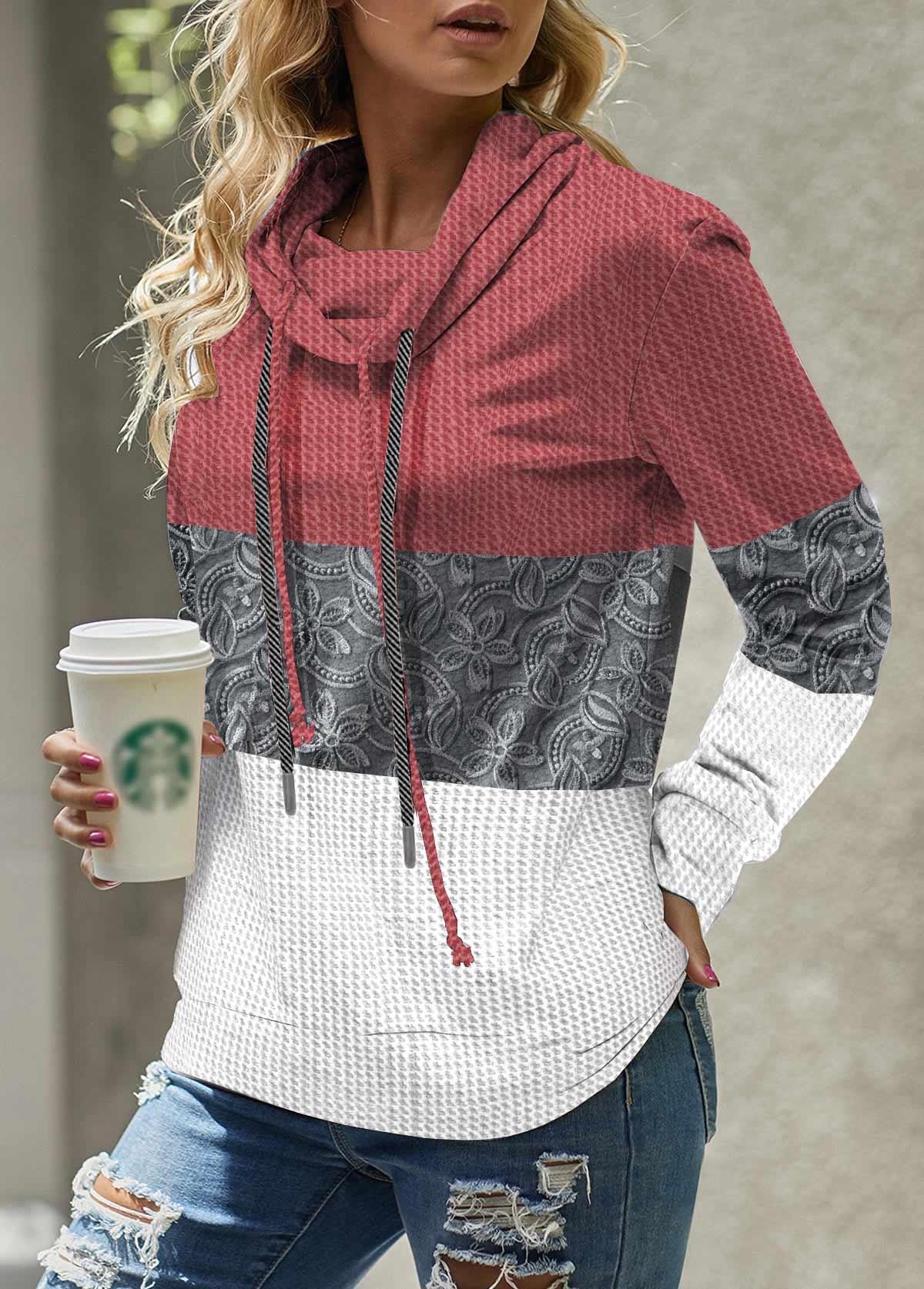 ROTITA Cowl Neck Waffle Knit Drawstring Lace Stitching Sweatshirt