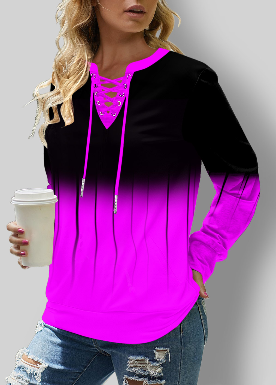 ROTITA Lace Up Long Sleeve Ombre Sweatshirt