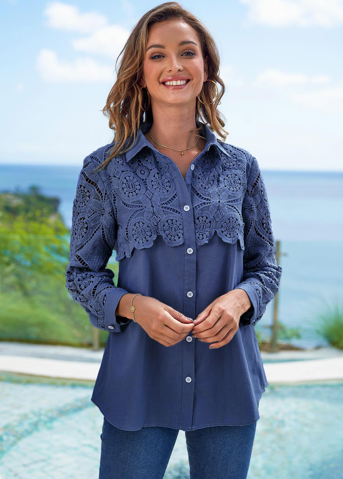 ROTITA Lace Stitching Faux Denim Turndown Collar Blouse