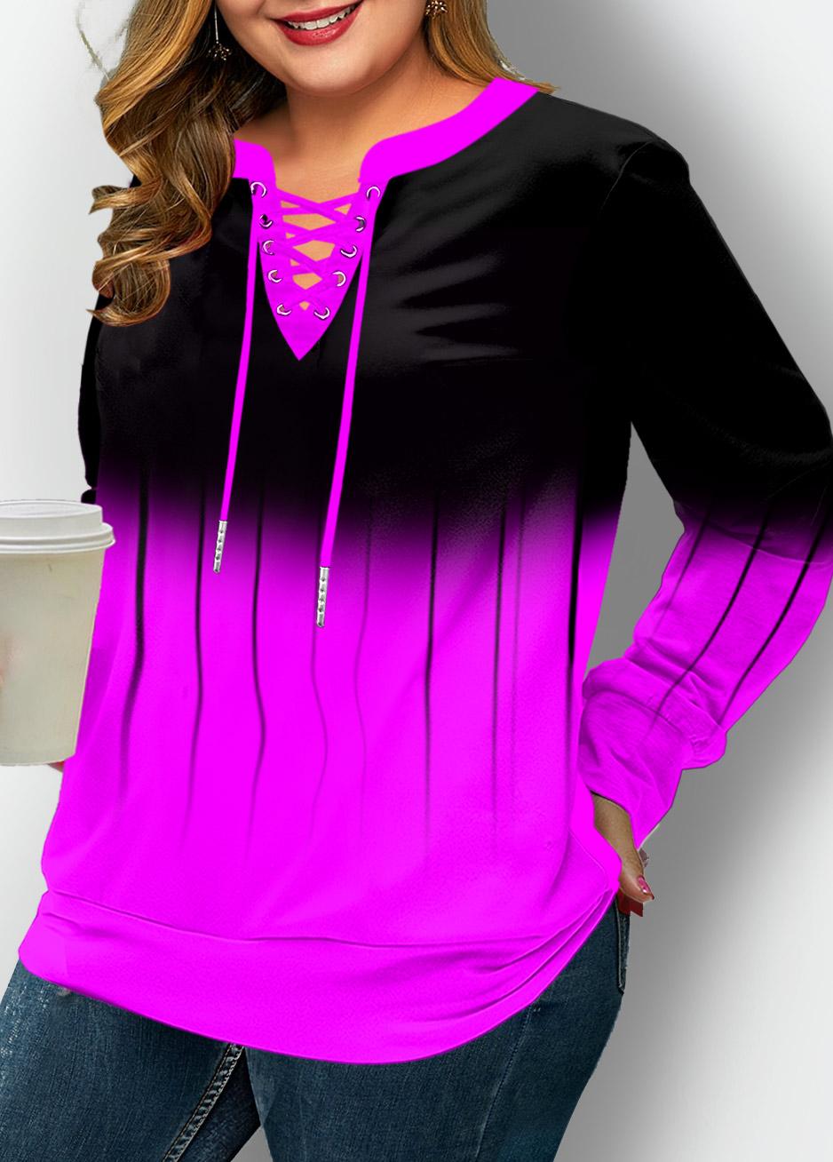 ROTITA Plus Size Lace Up Ombre Long Sleeve Sweatshirt