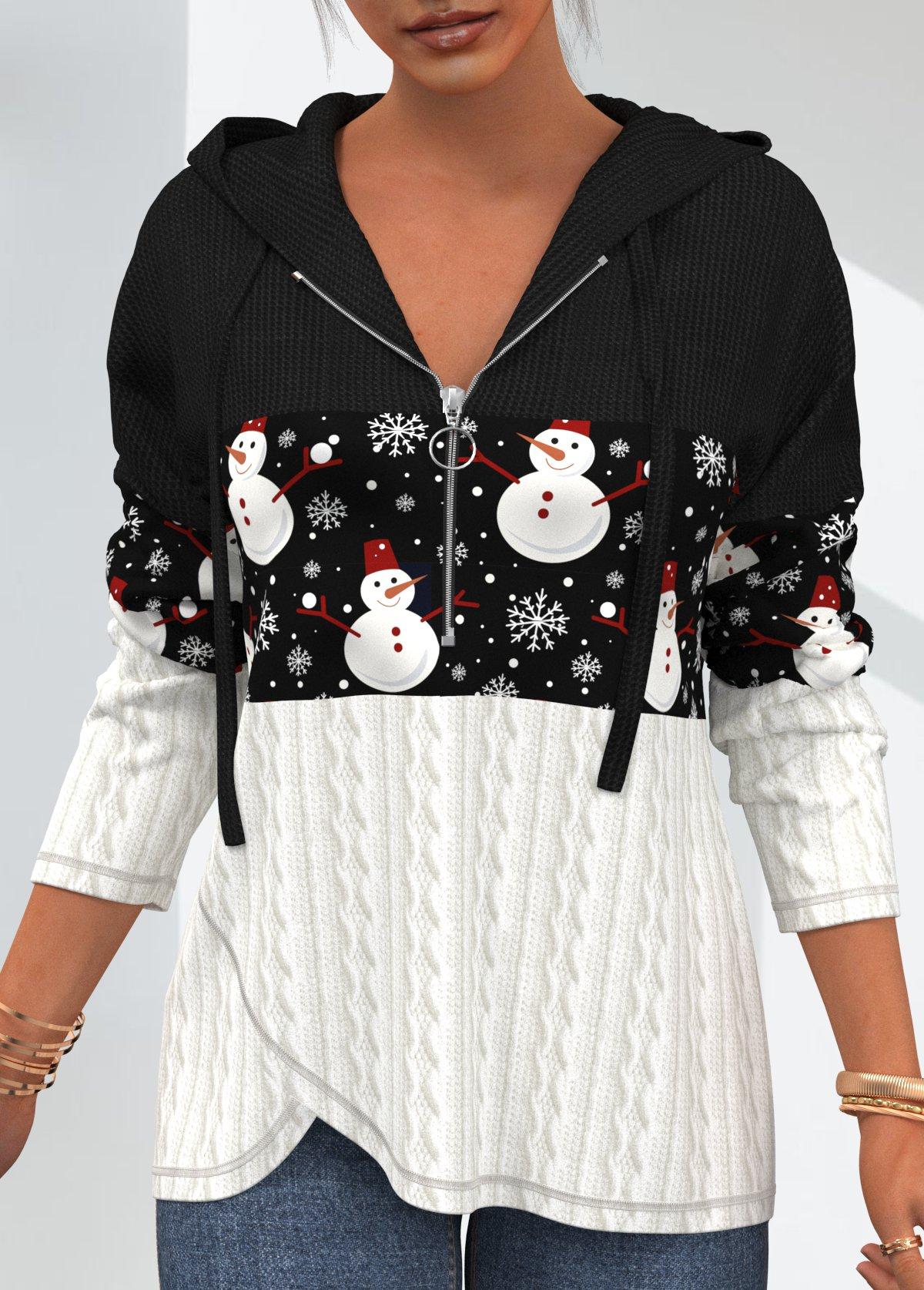 ROTITA Christmas Snowman Print Quarter Zip Long Sleeve Hoodie