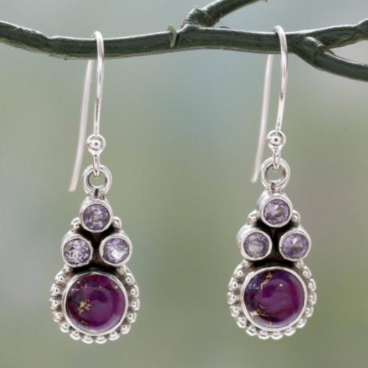 Purple Metal Detail Crystal Design Earring Set