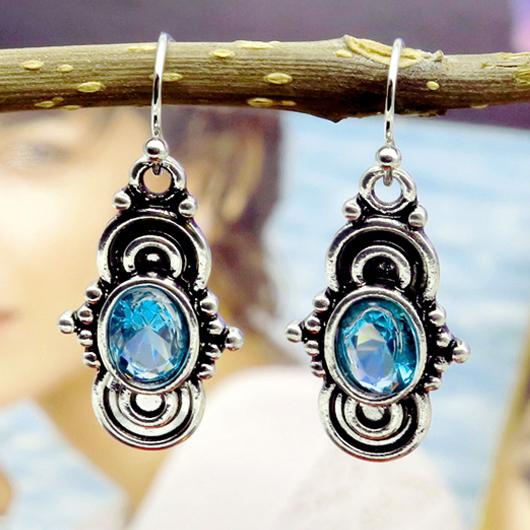 Metal Detail Retro Design Blue Earring Set