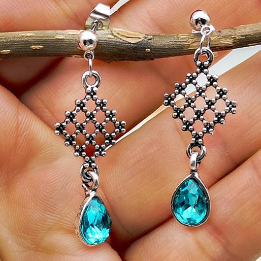 Metal Waterdrop Design Fishnet Detail Earring Set