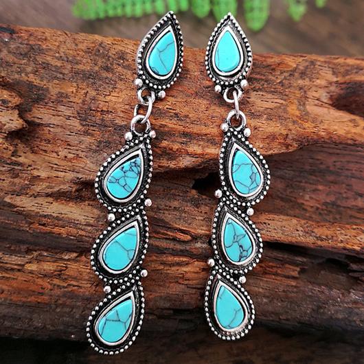 Leaf Design Turquoise Metal Detail Earring Set