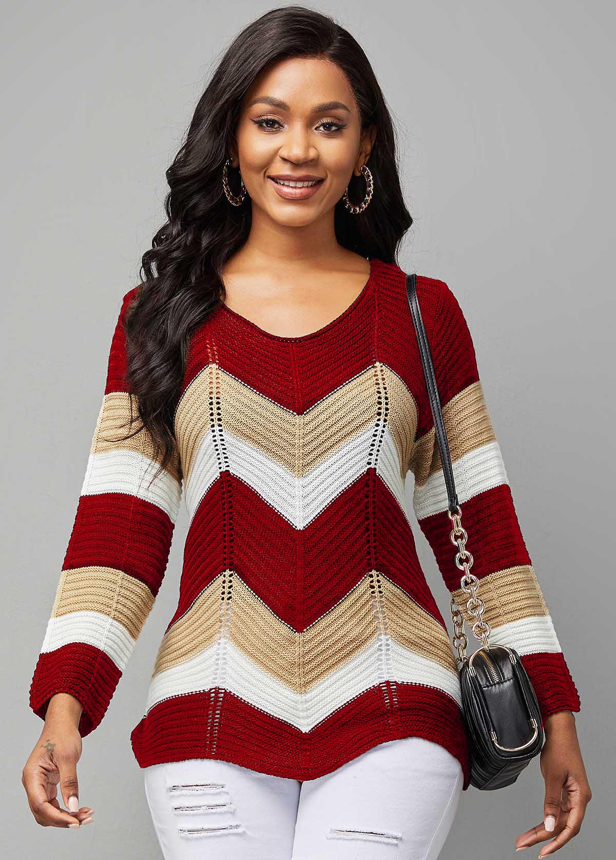 Chevron Print Contrast Long Sleeve Sweater