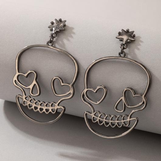 Metal Detail Skull Design Black Earring Set