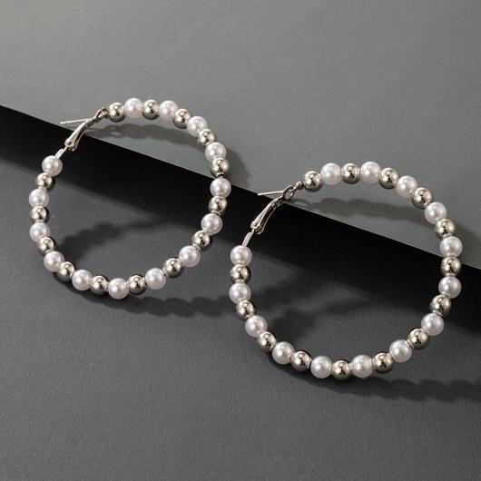 White Pearl Design Circle Detail Earring Set