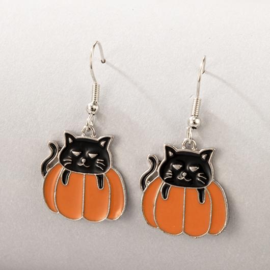 Metal Detail Black Cat and Pumpkin Design Earring Set