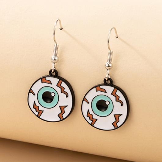Eyeball Design Metal Detail Earring Set