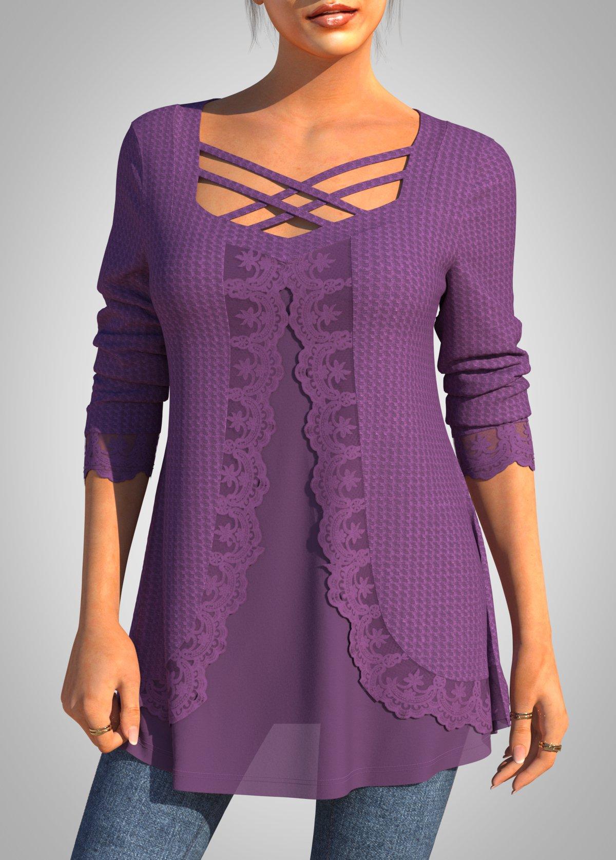 ROTITA Faux Two Piece Chiffon Lace Stitching Cross Strap T Shirt