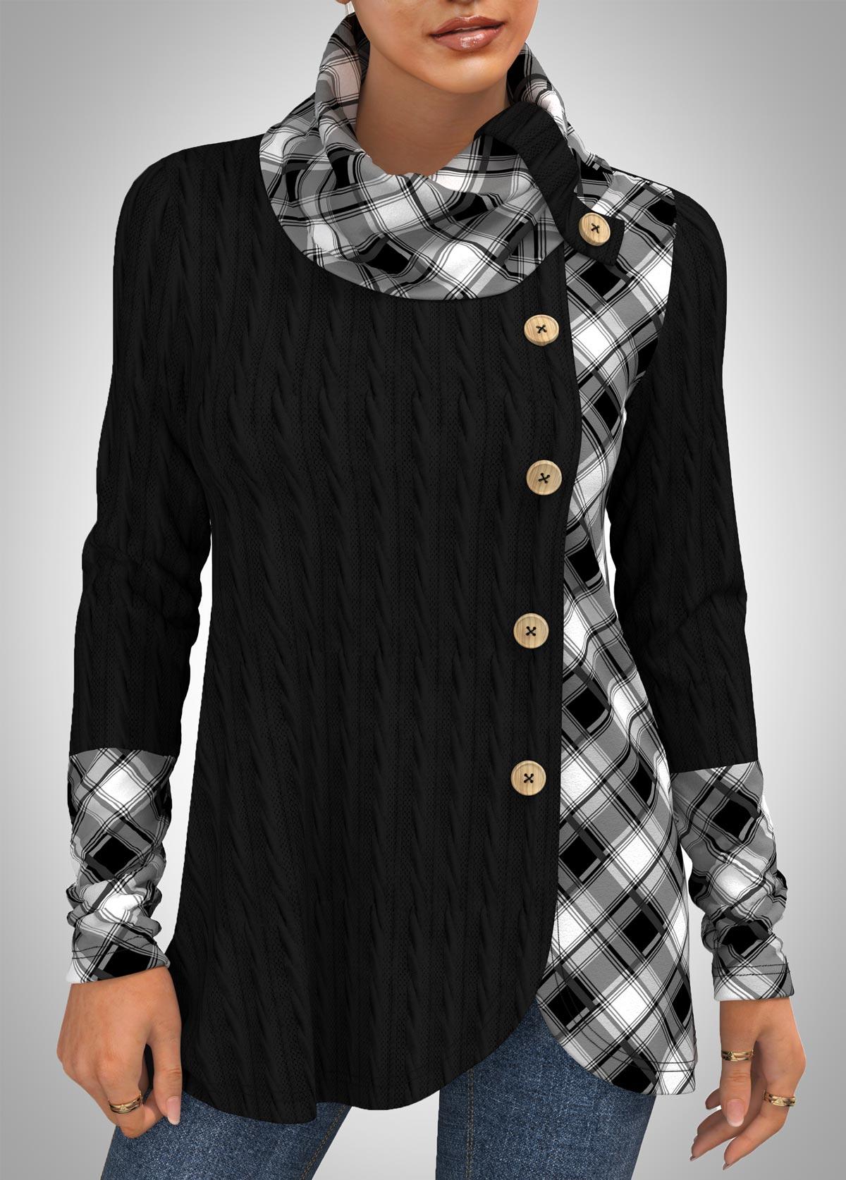 ROTITA Plaid Decorative Button Cowl Neck Long Sleeve Sweatshirt