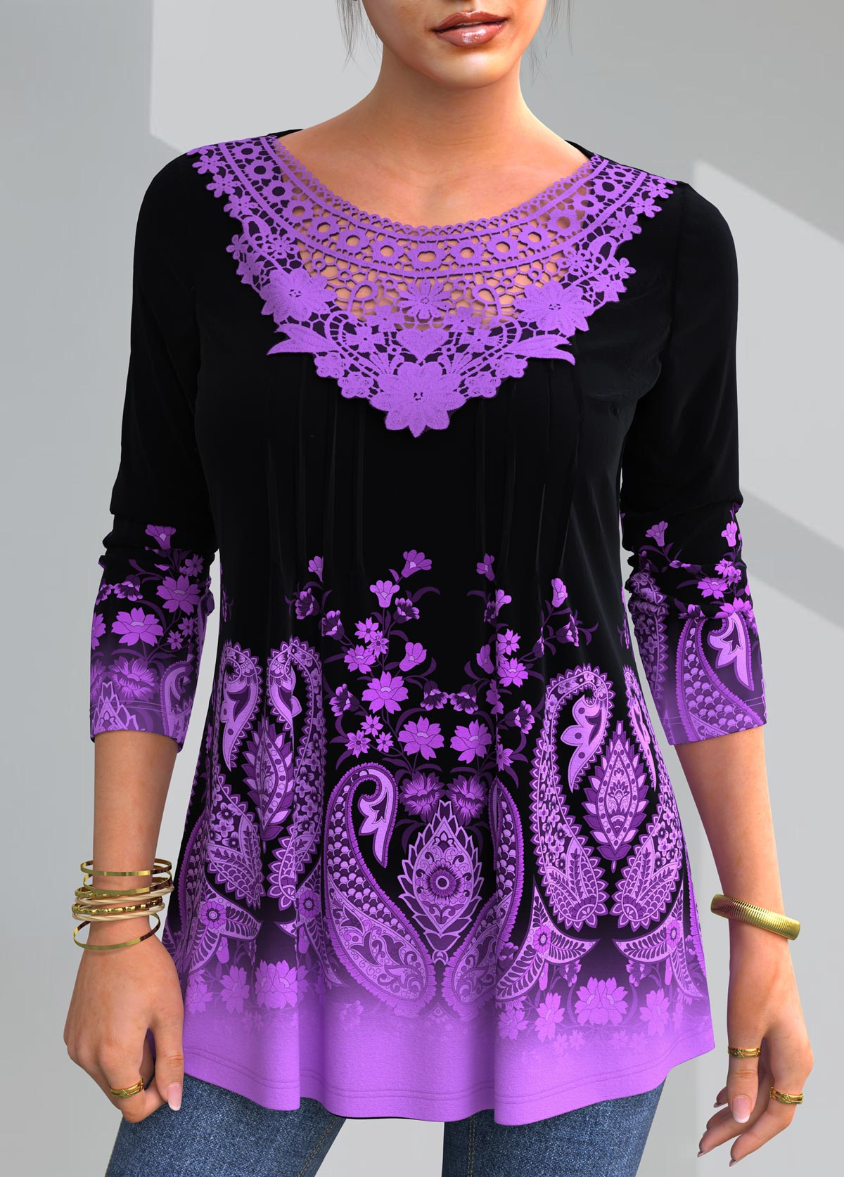 ROTITA Paisley Print Lace Patchwork T Shirt