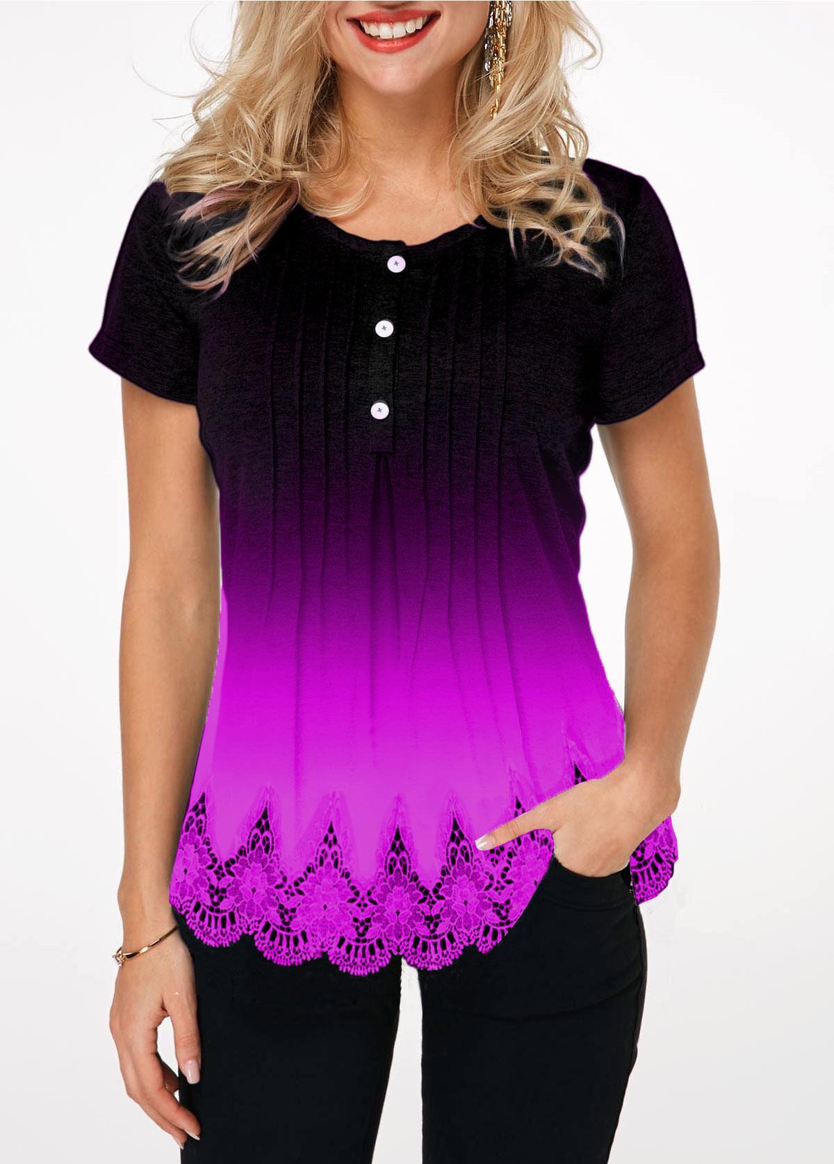 ROTITA Gradient Button Detail Lace Hem T Shirt