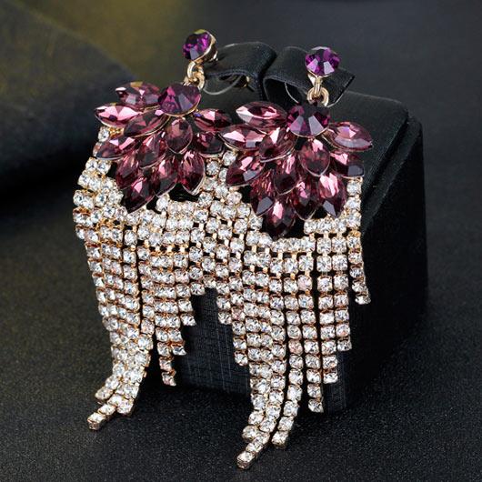 Tassel Design Rhinestone Metal Detail Earrings