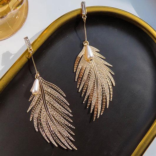 Feathers Design Pearl Metal Detail Earrings