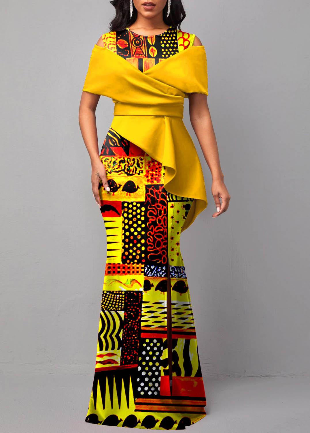 ROTITA Tribal Print Round Neck Short Sleeve Dress