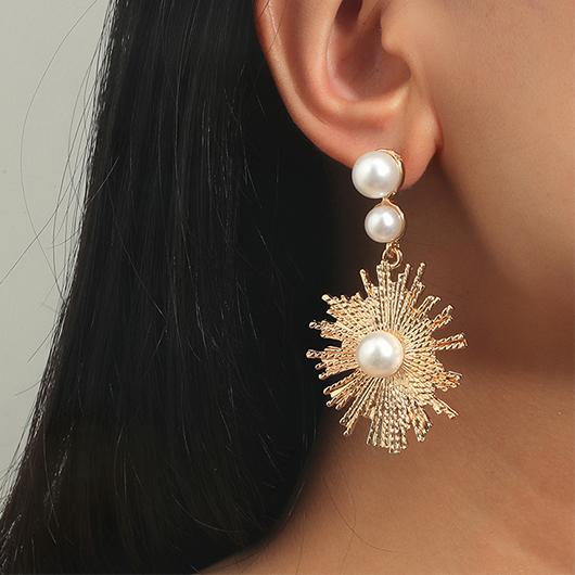 2.4 X 1.4 Inch Flower Design Pearl Detail Metal Earring Set
