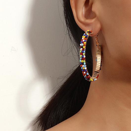 Multi Color Beads Circular Detail Earrings