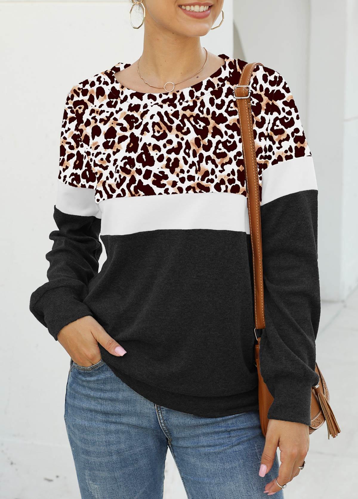Long Sleeve Leopard Round Neck Sweatshirt