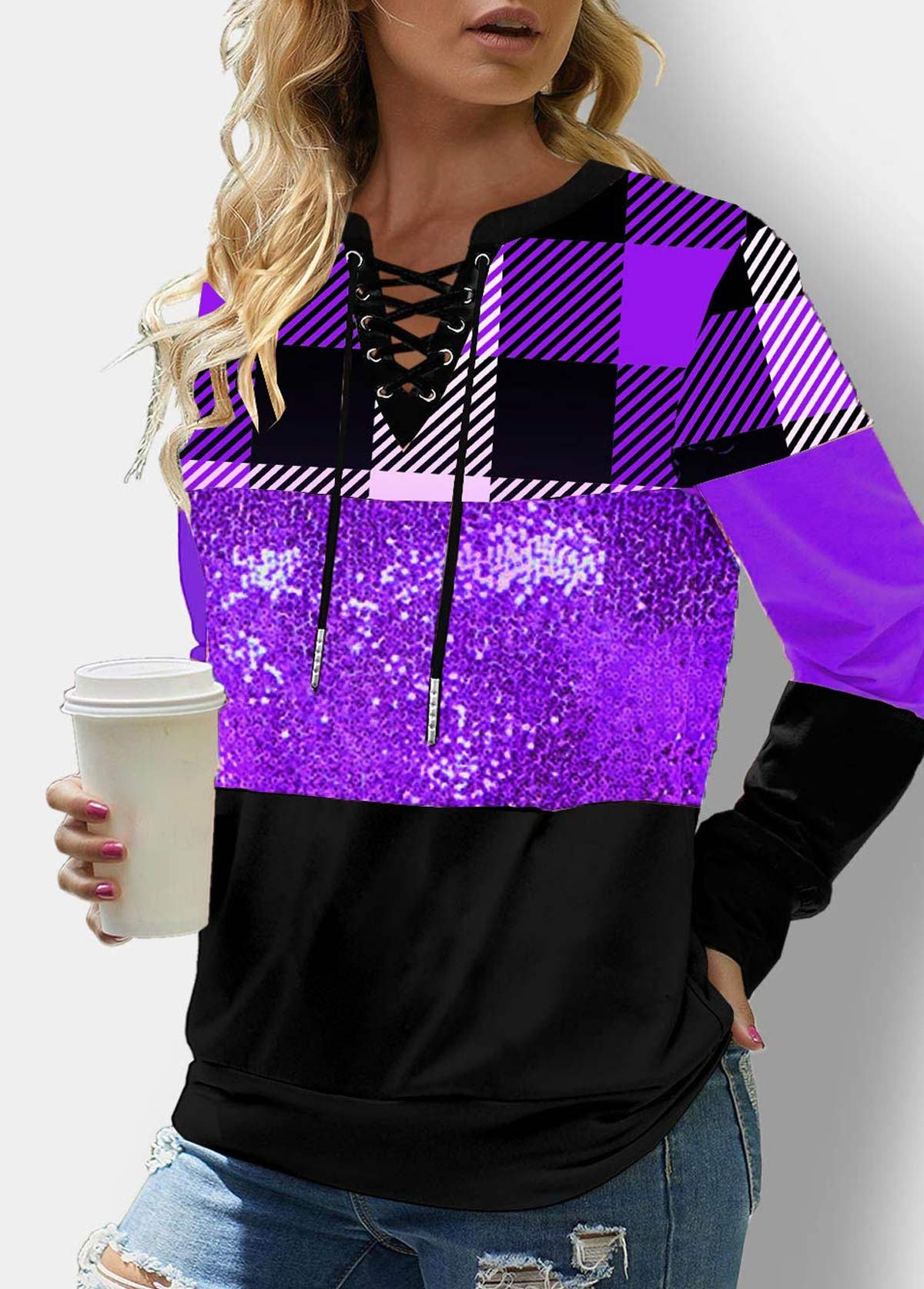 ROTITA Sequin Lace Up Long Sleeve Plaid Sweatshirt