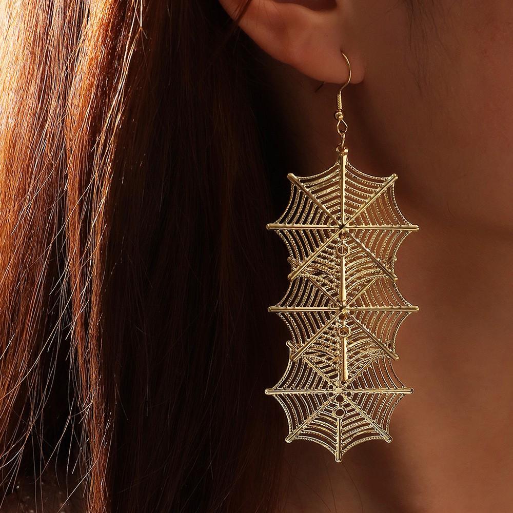 Metal Detail Spider Web Design Earrings