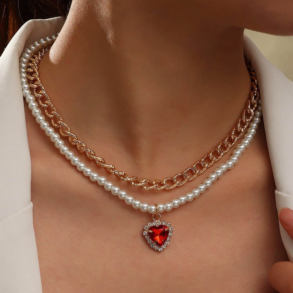 Pearl Gold Chain Heart Design Layered Necklace