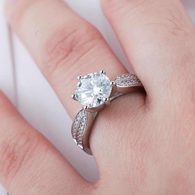 Silver Rhinestone Detail Metal Adjustable Ring