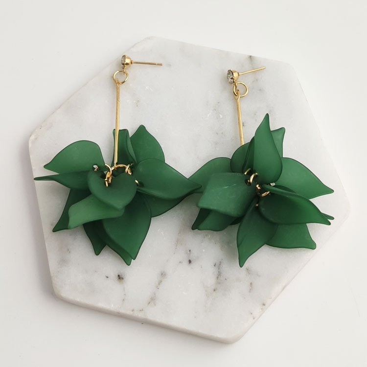 Layered Green Floral Design Earring Set