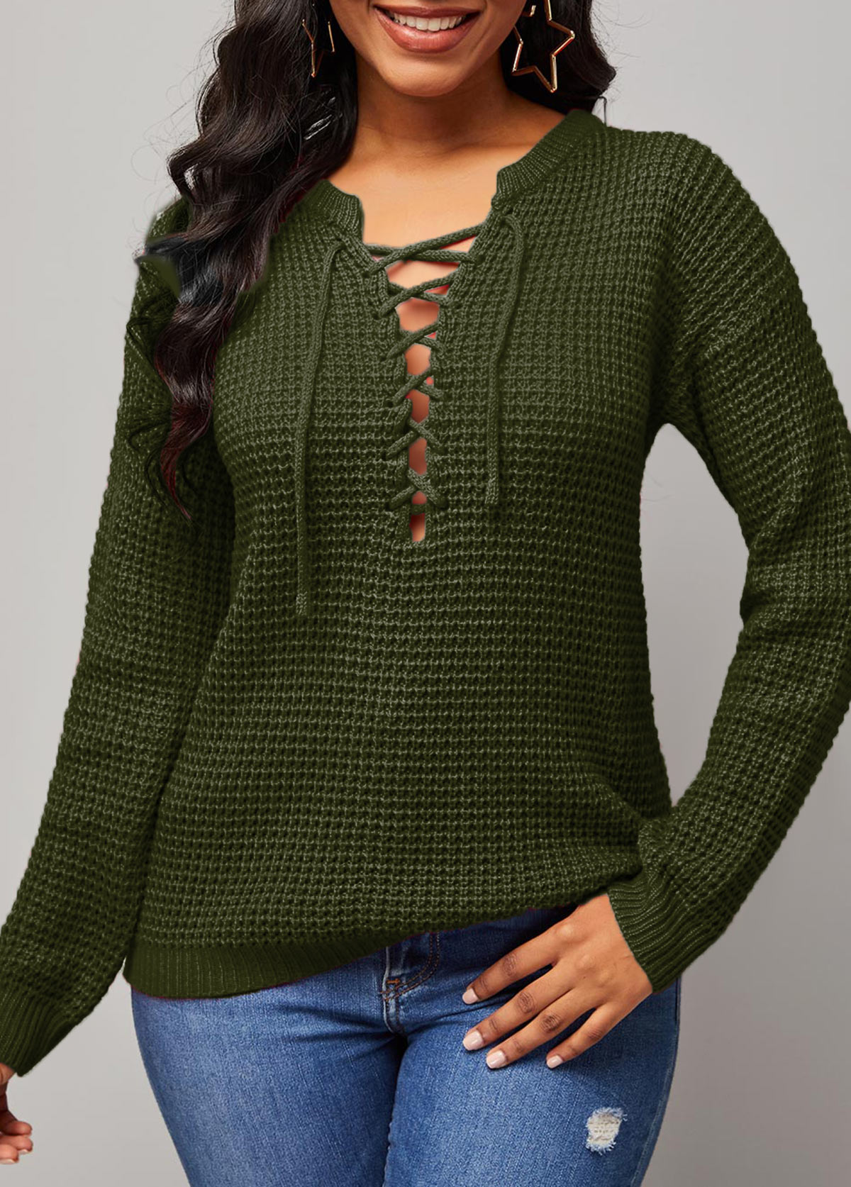 ROTITA Solid Lace Up Long Sleeve Sweater