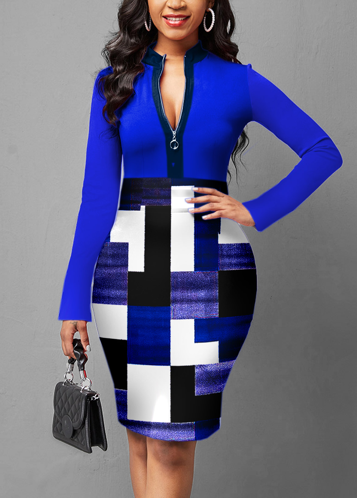 ROTITA Geometric Print Quarter Zip Long Sleeve Dress