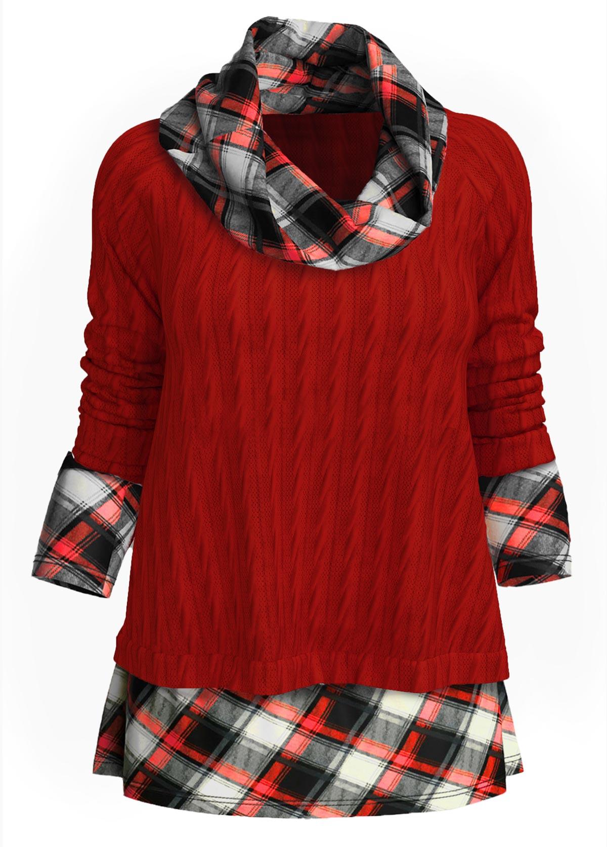 ROTITA Cowl Neck Twisted Plaid Long Sleeve Sweater