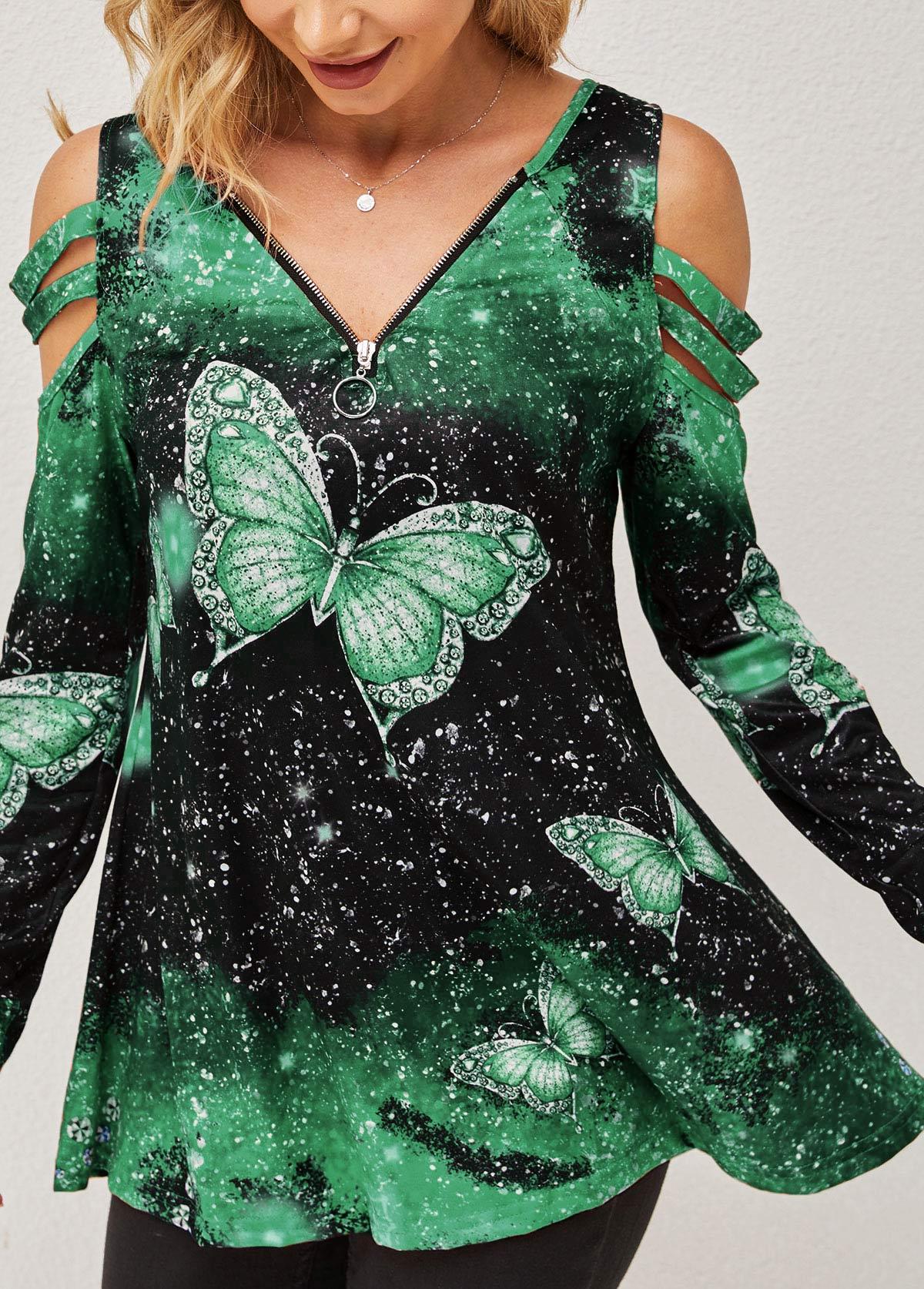 Quarter Zip Green Butterfly Print Cold Shoulder T Shirt